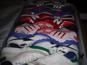 A bag full of colorful sport trainers.