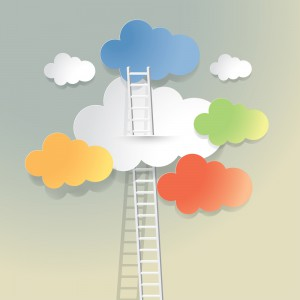 Picture of ladder in clouds - shows career progression