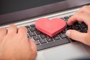 A symbol of heart on a laptop keybord