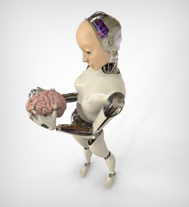 Robot holding a human brain
