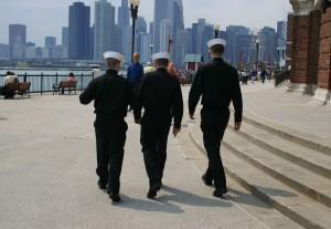 Three sailors on shore leave.