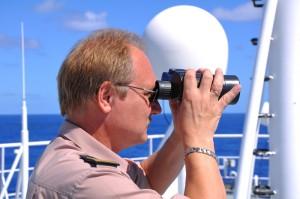 Officer with binocular
